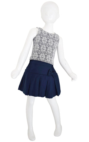 Tops for Kids_Faye Blue & White Lace Top paired with Blue Skirt