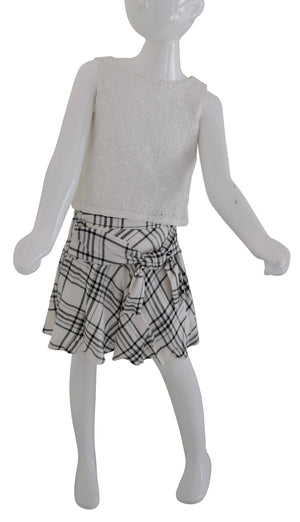 Faye Black & Ivory Kids Skirt with Checks print on a mannequin