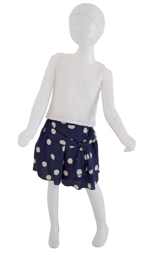 Blue Sapphire Skirt with Ivory polka print on a mannequin