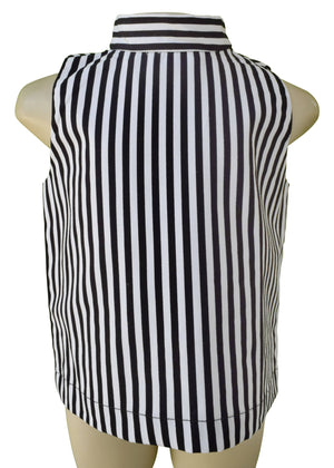 Top for Girls_Faye B&W Striped Collar Top
