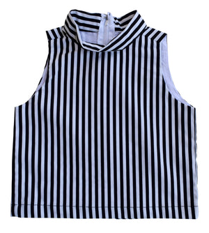 Top for Kids_Faye B&W Striped Collar Top