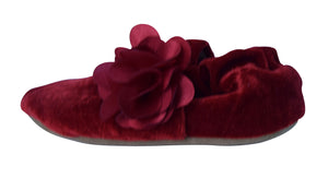 Baby Shoes_Maroon Velvet with Maroon flower Booties
