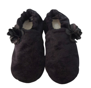 Black Velvet with Black flower Booties