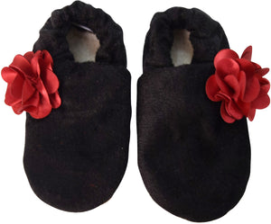 Kids Shoes_Black Velvet with Maroon flower Booties