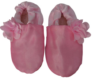 Kids Shoes_Onion Pink Tissue with Pink Flower Booties