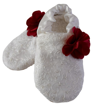 Kids Shoes_Ivory Mono Lace with Maroon Flower Booties
