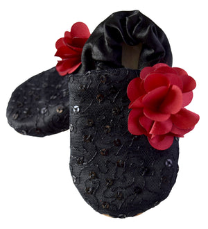 Kids Shoes_Black Mono Lace on Black Satin with Maroon Flower Booties
