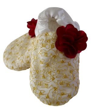 kids shoes_Gold Mono Lace on Ivory Satin with Maroon Flower Booties