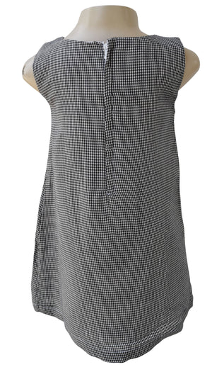 Black Checks Pleated Dress