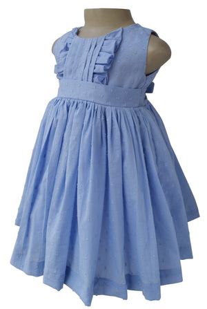Dress for baby girls_Faye Blue Swiss Dot Dress