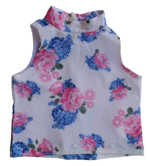 Kids Top_Faye Blue & Pink flower Print Collar Top