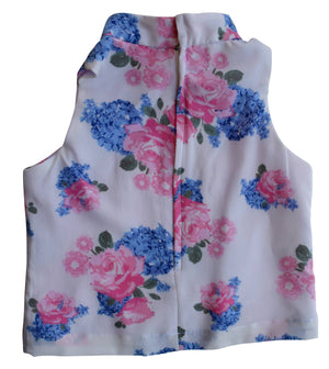 Top for Girls_Faye Blue & Pink flower Print Collar Top
