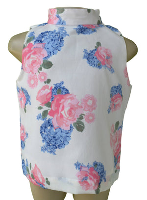 Faye Blue & Pink flower Print Collar Top