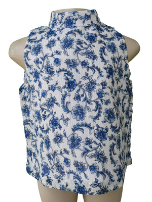 Faye Blue flower Print Collar Top