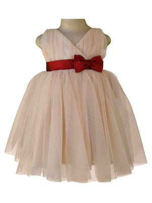 Baby girl dress_Faye Champagne V-Neck Dress