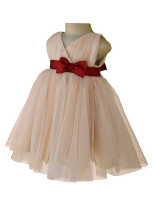 girl party dress_Faye Champagne V-Neck Dress