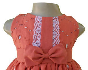 Dress for kids_Faye Coral Eyelet Dress