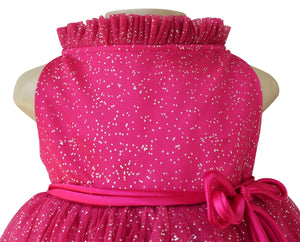 Girls dress_Faye Fuchsia Silver Dot Party Dress