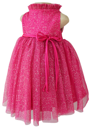 Dress for Girls_Faye Fuchsia Silver Dot Party Dress
