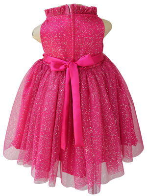 Faye Fuchsia Silver Dot Party Dress