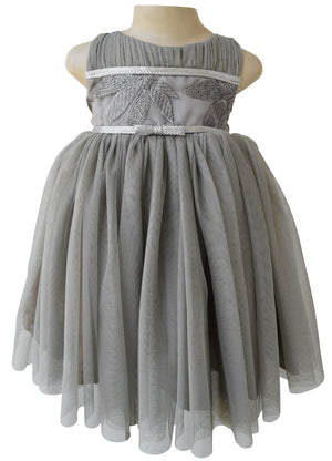 Kids Birthday Dress_Faye Grey Leaf Embroidered Dress