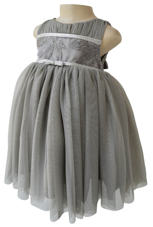 Kids Party Dress_Faye Grey Leaf Embroidered Dress