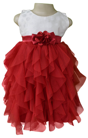 kids party dress_Faye Ivory & Maroon Waterfall Dress