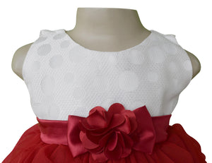 party wear for kids_Faye Ivory & Maroon Waterfall Dress