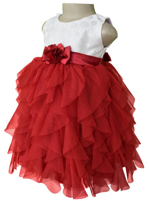 Party dress for girls_Faye Ivory & Maroon Waterfall Dress