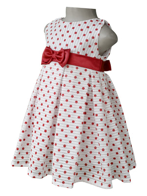 Party Dress for kids_Faye Maroon Polka Pleated Dress