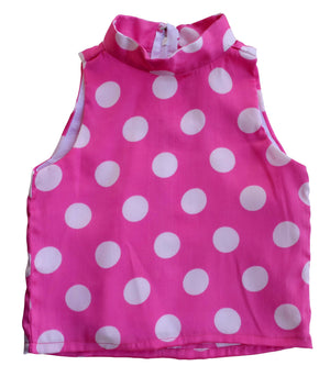 Girls top_Faye Pink Polka Collar Top