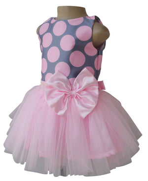 Kids Party Dress_Faye Pink & Grey Tutu Dress