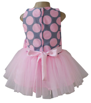 Kids Dress_Faye Pink & Grey Tutu Dress