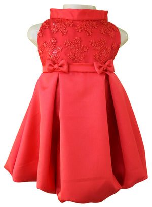 Faye Red Pleated Designer Dress for girls