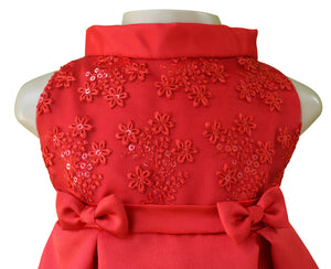 Red Pleated Dress for baby girls