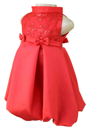Red Pleated Dress for girls from Faye
