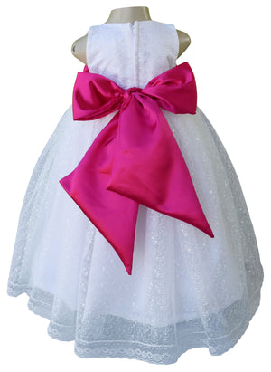 Faye White Embroidered Gown with Fuchsia Bow & Sash