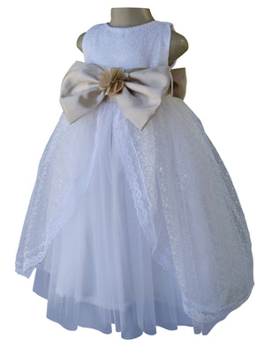 Faye White Embroidered Gown with Champagne Bow & Sash