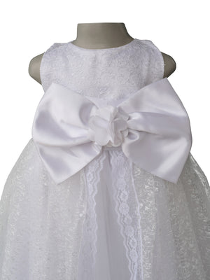 Gown for kids_Faye White Embroidered Gown