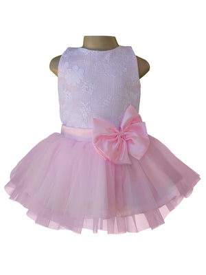 Dress for girl_Faye White Lace Pink Net Tutu Dress