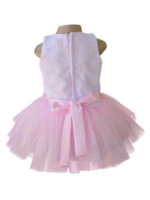 Faye White Lace Pink Net Tutu Dress