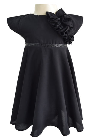 Faye Black Georgette Dress for Girls_faye