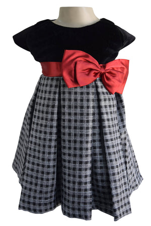 Black & Grey Checks Dress for girls_Faye