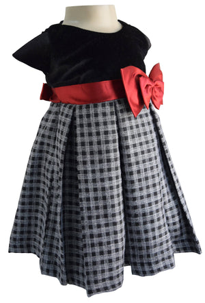 Black & Grey Checks Party Dress for Kids_Faye