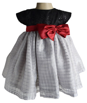kids dress_Faye Black & Grey Checks Dress