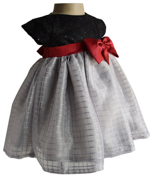 dress for girls_Faye Black & Grey Checks Dress