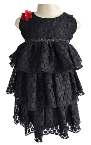 Faye Black Lace Tiered Dress for girls