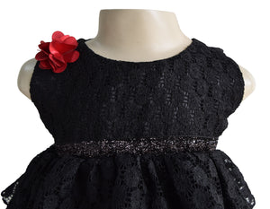 Faye Black Lace Tiered Dress for Kids