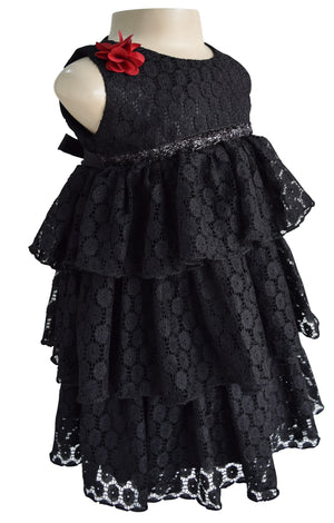 Faye Black Lace Tiered Party Dress