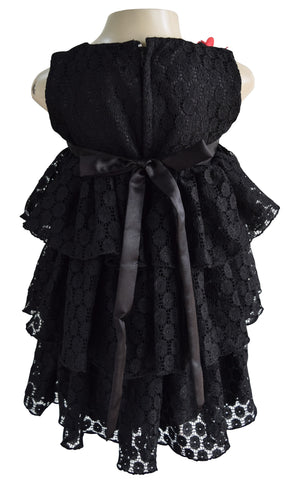 Faye Black Lace Tiered Dress